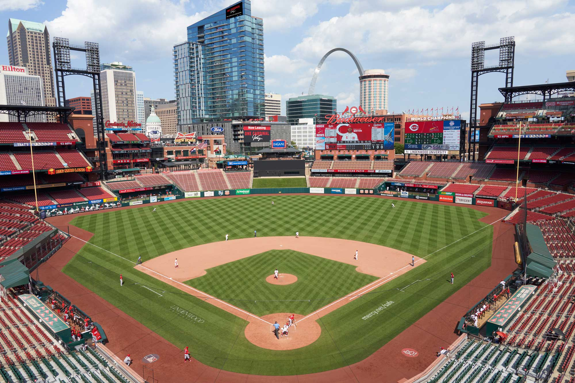 Photo of direct view into Busch Stadium from One Cardinal Way Luxury Apartments in St. Louis